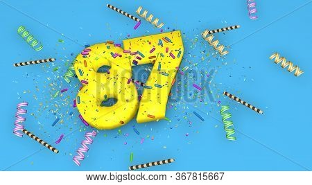 Number 87 For Birthday, Anniversary Or Promotion, In Thick Yellow Letters On A Blue Background Decor