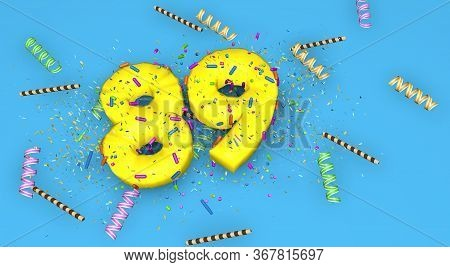 Number 89 For Birthday, Anniversary Or Promotion, In Thick Yellow Letters On A Blue Background Decor