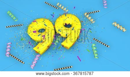 Number 99 For Birthday, Anniversary Or Promotion, In Thick Yellow Letters On A Blue Background Decor