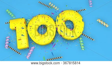 Number 100 For Birthday, Anniversary Or Promotion, In Thick Yellow Letters On A Blue Background Deco