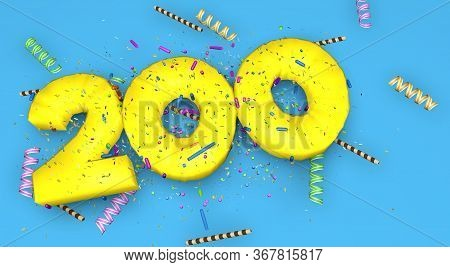 Number 200 For Birthday, Anniversary Or Promotion, In Thick Yellow Letters On A Blue Background Deco