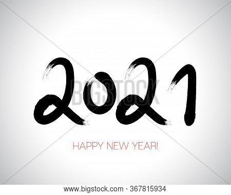 2021 Brushstroke Paint Banner. Stylish Happy New Year Typography. Happy New Year Elegant Business Ba