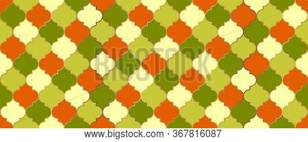 Eid Mubarak Muslim Background. Moroccan Seamless Mosaic Pattern. Iranian Mosque Window Shape. Tradit