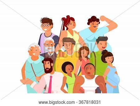Crowd Of Adult People Banner, Age And Ethnic Diversity. Flat Art Vector Illustration