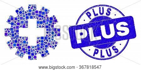 Geometric Plus Gear Mosaic Pictogram And Plus Seal Stamp. Blue Vector Rounded Grunge Seal Stamp With
