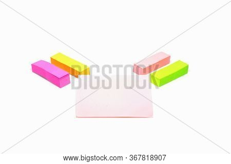 Isolated Colorful Notepad Paper On White Background.