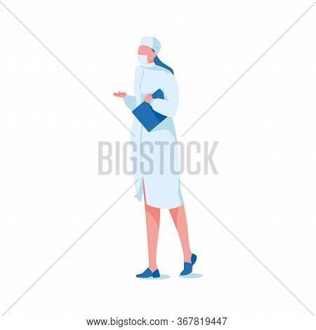 Hospital Worker In Medical Uniform, Isolated On White Background. Girl Physician Or Nurse In Protect