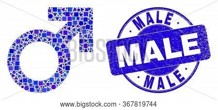Geometric Male Symbol Mosaic Pictogram And Male Stamp. Blue Vector Round Distress Seal Stamp With Ma