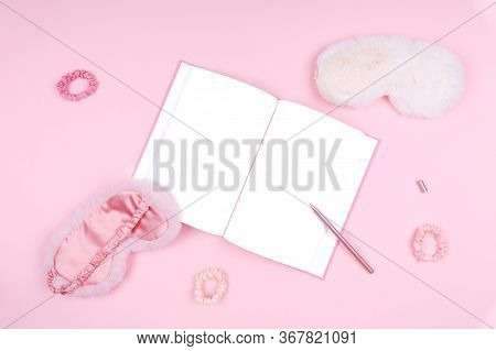 Journal With Cute Fluffy Sleep Masks And Pink Accessories. Sleep Management And Optimization, Beauty