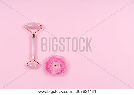 Jade Roller With Ranunculus Flower On Pink Drop. Beauty Time, Selfcare, Beauty Log, Feminine Journal