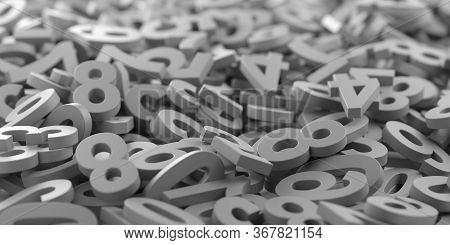 Grey Monochrome Colored Random Digit Numbers Heap Background, Algebra, Education Or Science Concept,