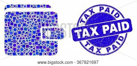 Geometric Purse Mosaic Icon And Tax Paid Watermark. Blue Vector Round Textured Stamp With Tax Paid T