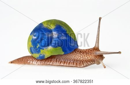 Snail carring the planet earth globe home shell on white background.