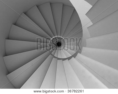 top view of a stylized spiral staircase poster