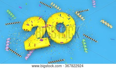 Number 20 For Birthday, Anniversary Or Promotion, In Thick Yellow Letters On A Blue Background Decor