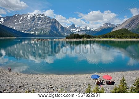 Upper Kananaskis Lake Is A Natural Lake That Was Turned Into A Reservoir In Kananaskis Country In Al