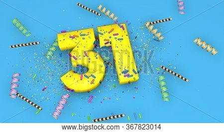 Number 31 For Birthday, Anniversary Or Promotion, In Thick Yellow Letters On A Blue Background Decor