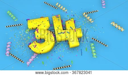 Number 34 For Birthday, Anniversary Or Promotion, In Thick Yellow Letters On A Blue Background Decor