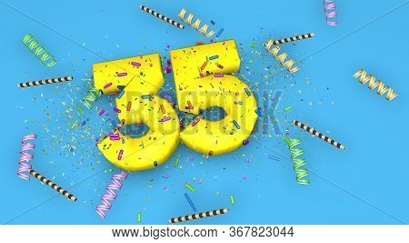 Number 35 For Birthday, Anniversary Or Promotion, In Thick Yellow Letters On A Blue Background Decor