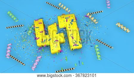 Number 41 For Birthday, Anniversary Or Promotion, In Thick Yellow Letters On A Blue Background Decor