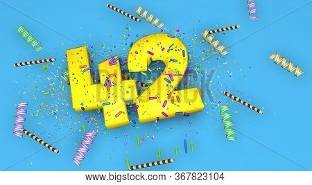 Number 42 For Birthday, Anniversary Or Promotion, In Thick Yellow Letters On A Blue Background Decor