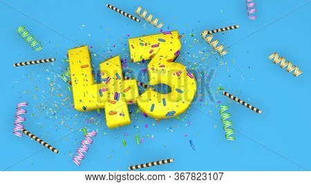 Number 43 For Birthday, Anniversary Or Promotion, In Thick Yellow Letters On A Blue Background Decor