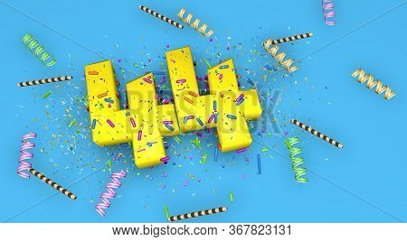 Number 44 For Birthday, Anniversary Or Promotion, In Thick Yellow Letters On A Blue Background Decor