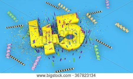 Number 45 For Birthday, Anniversary Or Promotion, In Thick Yellow Letters On A Blue Background Decor