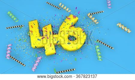 Number 46 For Birthday, Anniversary Or Promotion, In Thick Yellow Letters On A Blue Background Decor