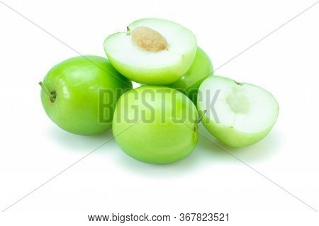 Fresh Green Jujube Fruits, Delicious Chinese Jujube Fruits With Slice Isolated On White Background.