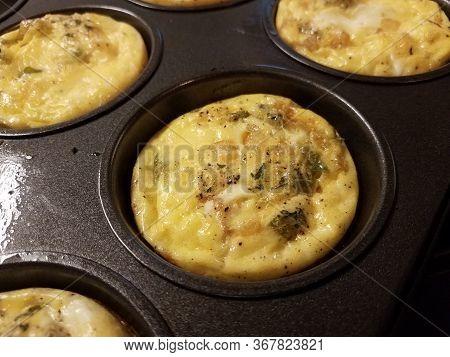 Baked Egg In Metal Cupcake Baking Tray