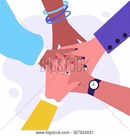 Arms Of Multiethnic Women Making Unity, Togetherness And Support Gesture. Stack Of Female Hands. Vec