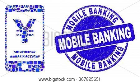 Geometric Yen Mobile Banking Mosaic Icon And Mobile Banking Seal Stamp. Blue Vector Rounded Textured