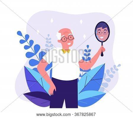 Smiling Man Looking At Himself In Mirror. Granddad Imagining Himself As Young Guy Flat Vector Illust