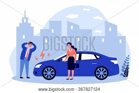 Drivers Upset About Car Breakdown. City Traffic, Engine Failure, Damage Flat Vector Illustration. Au