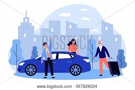 Positive Grandpa Going On Vacation. Old Man Walking To Car And Wheeling Suitcase Flat Vector Illustr