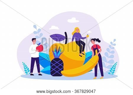 Happy People Keeping Healthy Diet. Men And Women Holding Fruits, Apple, Pineapple, Banana. Vector Il