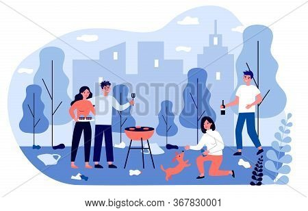 Young People Enjoying Barbecue Among Rubbish Outdoors. Plastic Waste, Picnic, City Park Flat Vector