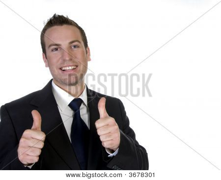 Happy Businessman With His Hand Going Thumbs Up