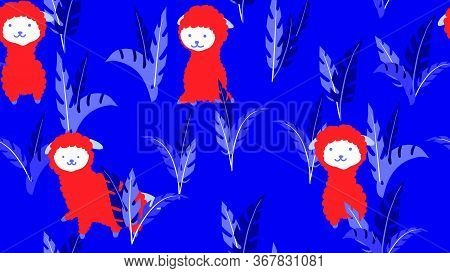 Animal Seamless Pattern, Hand Drawn Cute Lamas With Leaves, Blue And Red Tones