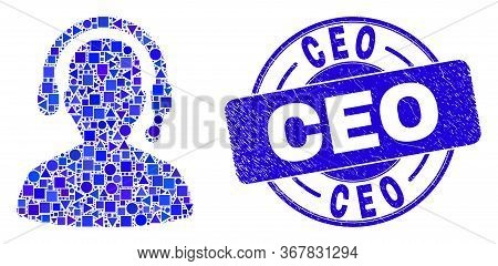 Geometric Radio Operator Mosaic Icon And Ceo Stamp. Blue Vector Round Grunge Seal Stamp With Ceo Tex