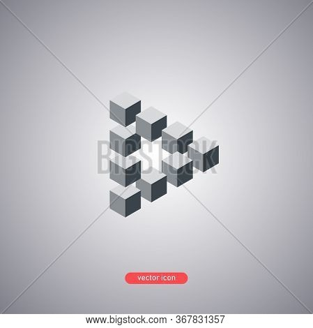 Penrose Triangle Volumetric View. 3d Cubes In The Penrose Triangle. Vector Illustration.