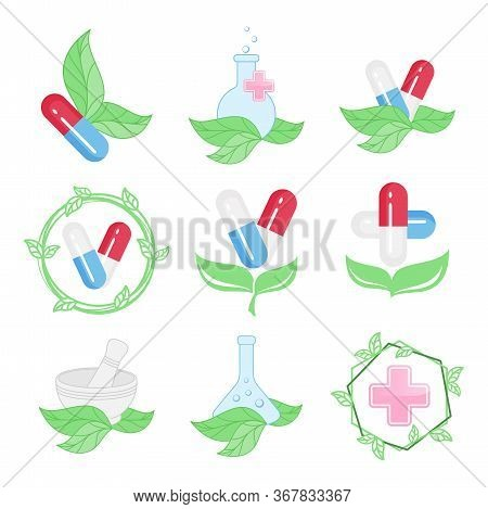 Set of medical icons, pharmacy emblems, logo. Vector design element for herbal medicine, green pharmacy, alternative medicine, ECO pharmacy, natural medicine, homeopathy. ECO, organic, natural concept