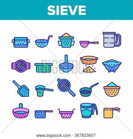 Sieve Kitchen Utensil Collection Icons Set Vector. Sieve Colander Cuisine Equipment For Sifting Flou