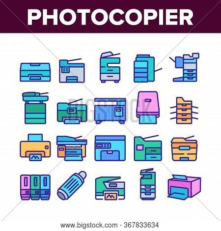 Photocopier Device Collection Icons Set Vector. Professional Photocopier And Scanner Equipment And I
