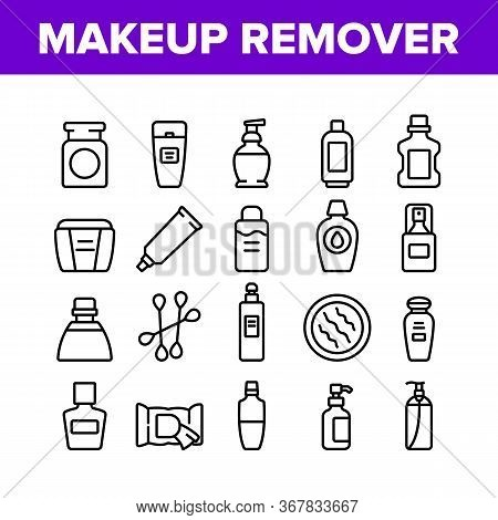 Makeup Remover Lotion Collection Icons Set Vector. Cosmetic Makeup Remover Cotton And Stick, Tube An