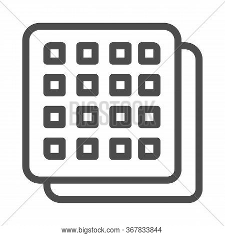 Square Cookies Line Icon, Confectionary Concept, Crispy Biscuit Cookie Sign On White Background, Hea