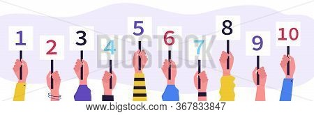 Jury Showing Cards With Amount Of Scores. Collection Of Scorecards In Human Hands, Competition Judge