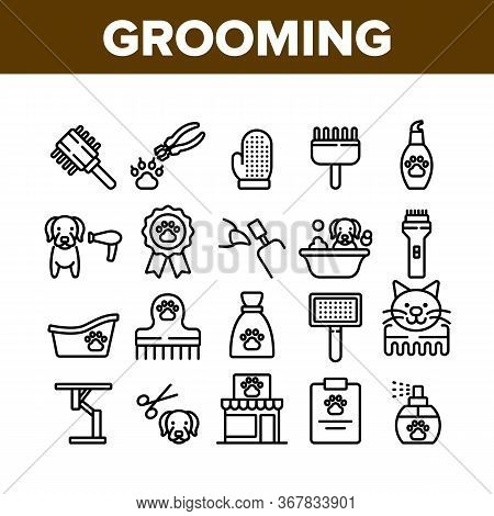 Grooming Animal Tool Collection Icons Set Vector. Equipment For Grooming Pet Claws And Wool, Washing