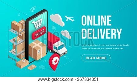 Delivery Online Isometric Banner Concept With Smartphone, Parcel Box, Truck, Pin, Storage Shelves On